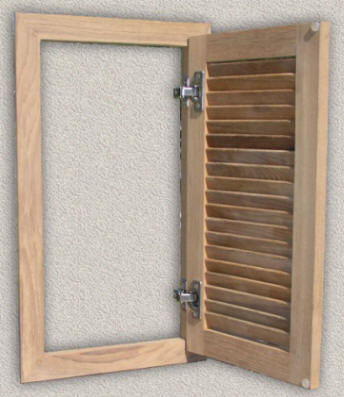 Solid Teak True Louver Door W Finger Pull Rounded Over Edges